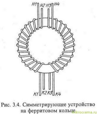 Симметрирующее устройство на ферритовом кольце