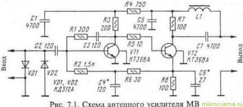 Схема антенного усилителя МВ