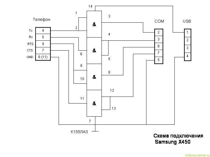 Схема дата-кабеля для Samsung X450