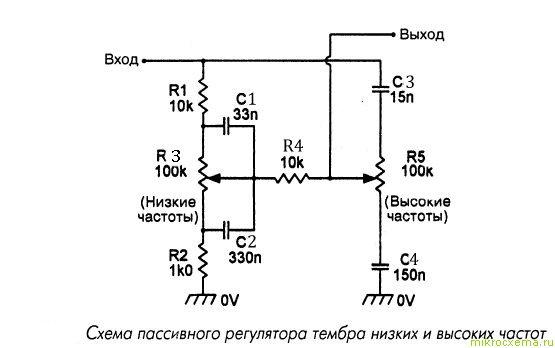 Схема пассивного регулятора тембра НЧ и ВЧ