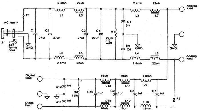 Электрическая схема эксклюзивного сетевого фильтра