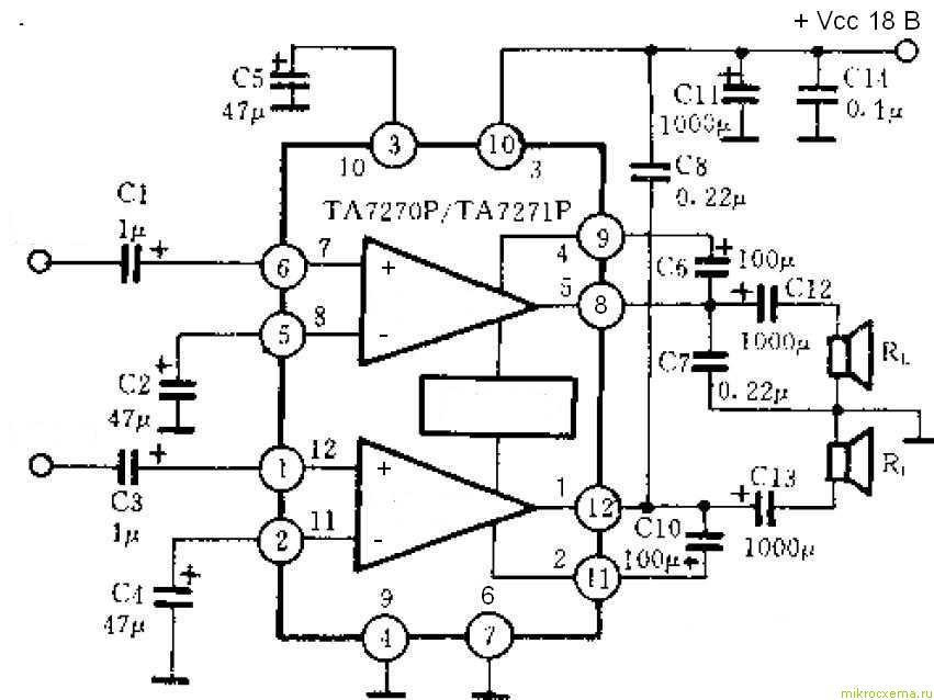Схема усилителя мощности на микросхеме - двухканальное включение