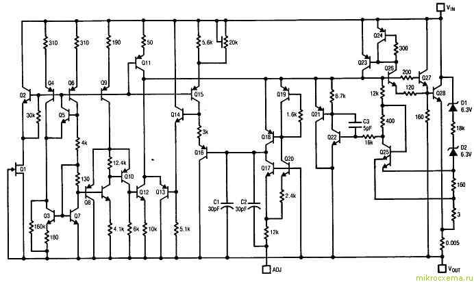 Интегральный стабилизатор LT1038 принципиальная схема
