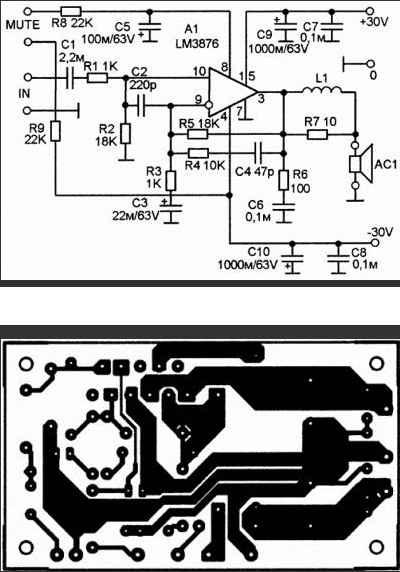Усилитель мощности звуковой частоты на LM3876 схема и плата