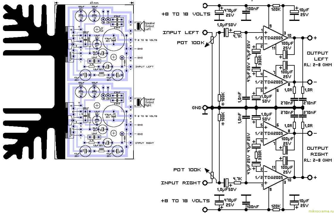 Усилитель стерео TDA2005 схема и печатная плата