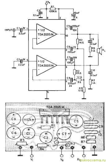 Схема TDA2005 моно и печатная плата