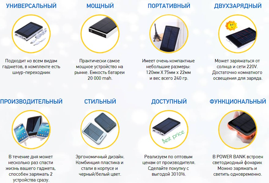 Достоинства PowerBank 20000 мА*ч